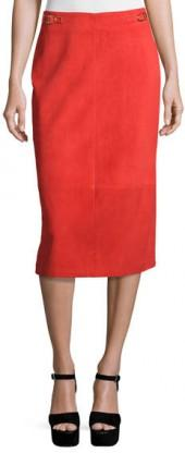 Gabriela Hearst Suede Pencil Skirt, Red