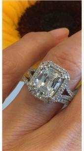 Etsy White Sapphire Diamond Engagement Ring 10x8mm Cushion Cut White Sapphire Center .55ct Genuine Diamon