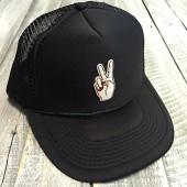 Etsy Peace Hand Patch Funny Snapback Trucker Hat, One Size, Baseball, Yoga, pilates, barre, workout hat,