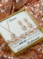 Etsy Rose gold ,personalized Bridesmaid Gift, Bridesmaid Earrings Bracelet Set, Crystal Wedding Jewelry G