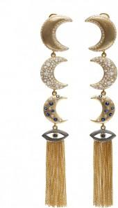 "Linear Tasseled Earrings ""The Guardian Moons"""