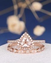 Etsy Triangle Morganite Ring Set Rose Gold Engagement Ring Art Deco Ring Wedding Band Women Halo Diamond