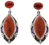 Nicky Butler 2.60ctw Sponge Coral and Honey Quartz Triplet Sterling Silver Drop Earrings