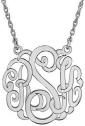 25mm Script Monogram Necklace in Sterling Silver (3 Initials)