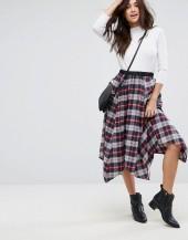 ASOS Check Midi Skirt