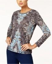 Inc International Concepts Petite Printed Burnout Top, Created for Macy's