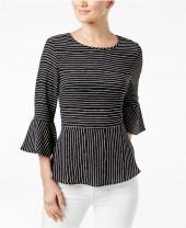 Monteau Petite Bell-Sleeve Peplum Top, A Macy's Exclusive