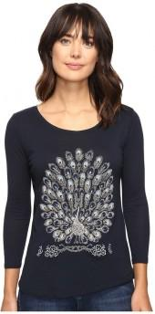 Lucky Brand Peacock Embellished Tee