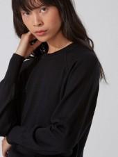 Washable Merino Wool Raglan Sweater in True Black