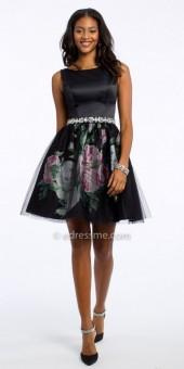 Camille La Vie Floral Satin Mesh Fit And Flare Cocktail Dress