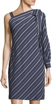 Label by 5Twelve One-Sleeve Bow-Shoulder Striped Dress
