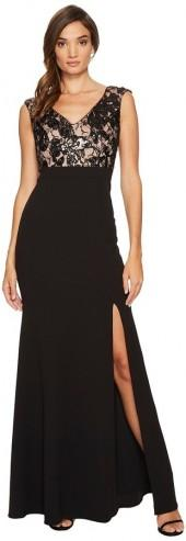 Adrianna Papell - Cap Sleeve Long Gown with Lace Bodice Women's Dress