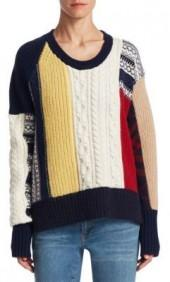 Burberry Cashmere & Wool Patchwork Sweater