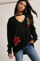 FOREVER 21 Floral Cutout Sweater