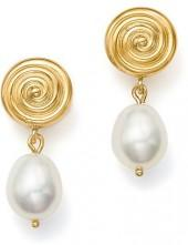 Bloomingdale's Cultured Freshwater Pearl and Spiral Drop Earrings in 14K Yellow Gold - 100% Exclusive