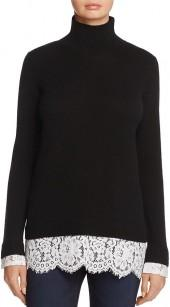 C by Bloomingdale's Lace-Trim Cashmere Turtleneck Sweater - 100% Exclusive