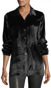 J Brand Jeans Nora Button-Front Velvet Shirt