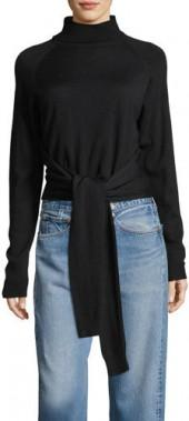 Kendall + Kylie Tie-Front Long-Sleeve Turtleneck Sweater