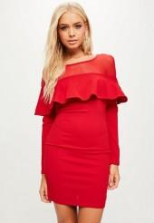 Red Frill Front Bodycon Dress