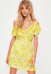 Yellow Floral Print Cold Shoulder Dress