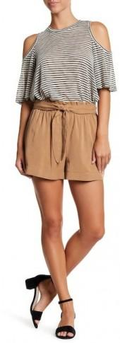 BCBGeneration Flared Sash Shorts