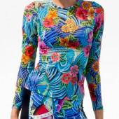 Luli Fama - F515G01 Long Sleeve Inked Top