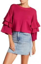 Elodie Ruffle Sleeve Pullover Sweater