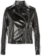 Petite vinyl biker jacket