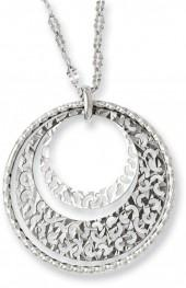 Hammered Circles Pendant in Sterling Silver with Black Ruthenium - 20""