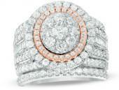 3 CT. T.W. Composite Diamond Frame Multi-Row Bridal Set in 14K Two-Tone Gold