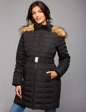 Faux Fur Trim Cotton Woven Maternity Jacket
