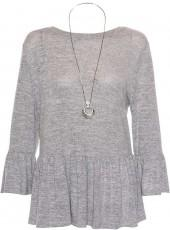 *Quiz Grey Ruffle Sleeve Knitted Top with Necklace