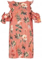 *Tenki Red Stripy Floral Shift Dress