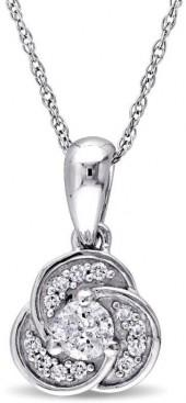 "Delmar Jewelers .32ctw Diamond 10K White Gold Semi-Swirl Pendant with 17"" Chain"
