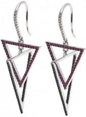 Rarities Fine Jewelry with Carol Brodie Rarities: Fine Jewelry with Carol Brodie 1.14ctw Diamond, Black Spinel and Gemstone Geometric-Design Drop Earrings