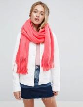 ASOS Long Tassel Scarf in Supersoft Knit In Coral