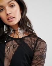 LoveRocks London Lace & Leather Look Tie Up Choker