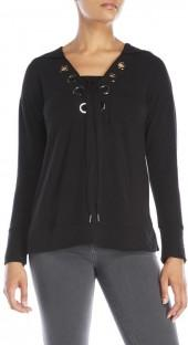 cable & gauge Lace-Up Hoodie