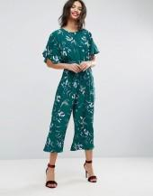 ASOS Tea Jumpsuit with Elasticated Belt in Print