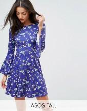 ASOS Tall ASOS TALL Swing Dress With V Back and Frill in Ditsy Floral Print