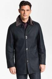 Salvatore Ferragamo Genuine Shearling Coat with Gancini Closure