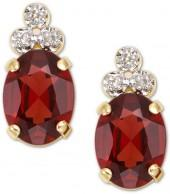10k Gold Garnet & Diamond Earring
