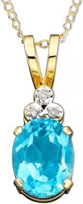 10k Gold Blue Topaz (2 ct. t.w.) & Diamond Accent Pendant