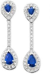 14k White Gold Sapphire (9/10 ct. t.w.) & Diamond (1/3 ct. t.w.) Drop Earrings