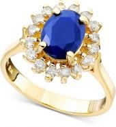 Royalty Inspired by Effy Collection 14k Gold Sapphire (1-9/10 ct. t.w.) and Diamond (1/2 ct. t.w.) Oval Ring