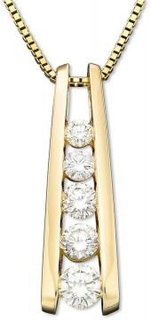 Macy's Diamond Necklace, 14k Gold Five-Stone Diamond Journey Pendant (1 ct. t.w.)