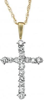 Macy's Diamond Necklace, 14k Gold Cross Diamond Pendant (1/4 ct. tw.)