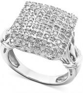 Macy's Diamond Ring, 14k White Gold Diamond Square Cluster (1 ct. t.w.)