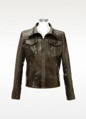Forzieri Dark Brown Italian Leather Motorcycle Jacket