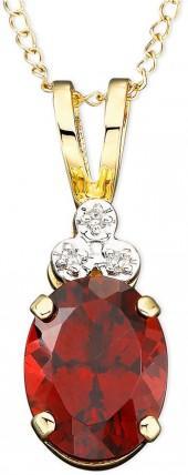 10k Gold Garnet (1-3/4 ct. t.w.) & Diamond Accent Pendant